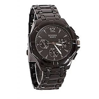 Rosra Stylish Analog Black Metal Wrist Watch - Men
