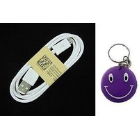 Genuine Micro USB Data Cable For Samsung,Micromax Etc With Free Smiley Key Chain