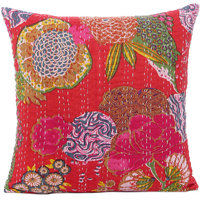 """2pcs Lot INDIAN KANTA HANDMADE CUSHION COVER RED ETHNIC PILLOW COVER SIZE 16"""""""