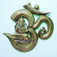 BWHG112 Black Metal Wall Hanging  Of Lord Ganesha On Om(38x38cm,1000gm Approx)