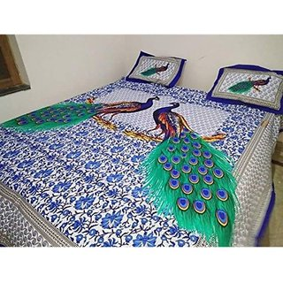 Ruby Creation Jaipuri Printed Cotton 1 Double Bedsheet With 2 Pillow Cover