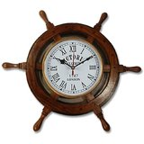 Fancy Vintage Ship Stering Wheel Wooden Wall Clock Watch Office Home Décor Gift