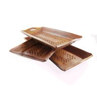 Fancy Set Of 3 Wooden Home Kitchen Dining Serving Trays Set Décor Gift Item Tea
