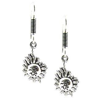 Factorywala Girls  Fashionable Sun Designed Oxidized Silver Earring