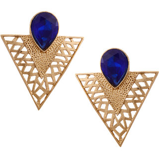 Mahaveer Pearls Contemporary V shaped Golden Color Earring with Blue Synthetic Stone
