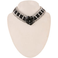 Jazz Jewellery Silver Plated Black Flower Pendent Choker Necklace For Women and Girls
