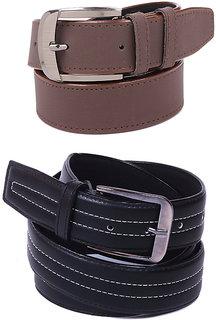 Calibro Men\'S Black-Brown Fux Leather Belt Combo CMFLB-1025