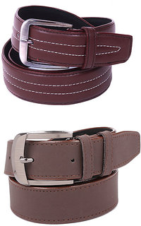 Calibro Men\'S Brown Fux Leather Belt Combo Pack Of 2  CMFLB-1036