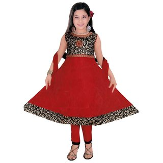 Sarrah Girls Red & Black Designer Churidar Set (Size: 32)