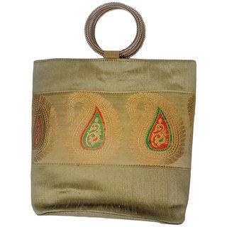 Bhamini Big Double Bangle Resham Motif Handbag (Gold)