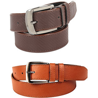 Calibro Men\'S Tan-Brown Fux Leather Belt Combo CMFLB-1083