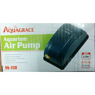 COLOURFUL AQUARIUM  Aquarium Air pump / Motor 1way + 1 mtr air tupe + 1 Air Stone #SS108