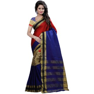 Madhav Retail Multicolor Cotton Self Design Saree With Blouse