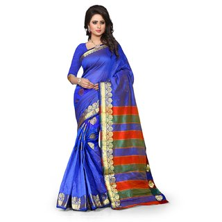 Madhav Retail - Color Blue and Palu Multi Cotton Silk Sarees With Unstiched Blouse Piece
