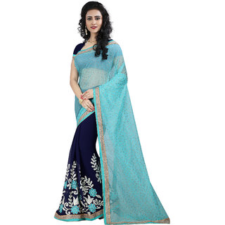 Madhav Retail Blue Georgette Embroidered Saree With Blouse