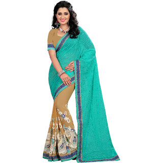 Madhav Retail New Designer Sky Blue Colore Chain Stitch Embroidererd Work saree with unstiched blouse