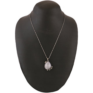 Jazz Jewellery Tear Drop Grey Rhinestone Flower Chain Pendent For Women and Girls