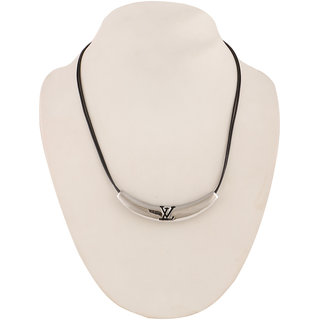 Jazz Jewellery Half Moon Design Silver Colour Leather Strip Designer Necklace For Women and Girls