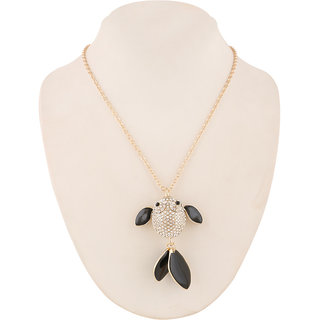 Jazz Jewellery American Diamond Studded Fish Pendent Chain Necklace For Women and Girls