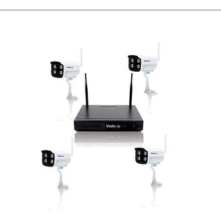 Vintron - Wireless HD NVR 4CH Wifi NVR KIT with 4 x 720P IP cameras  4 x 12V1A Power Adapter + 1 Mtr. Network Cable.