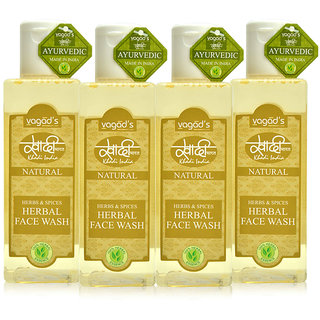 Khadi Vagad's Herbs  Spices Herbal Face Wash ( 200ml x 4 )