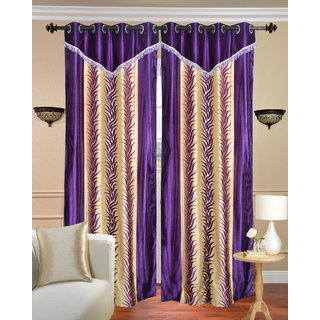 Lace Design Long Door Curtain set of 2 pcs (4x9 feet)-Purple Eyelet Polyester Curtain-Purav Light