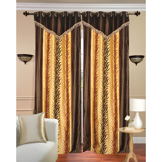 Lace Design Window Curtain set of 2 pcs (4x5 feet)-Brown Eyelet Polyester Curtain-Purav Light