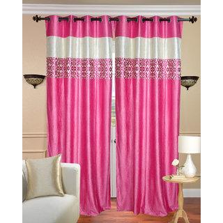 Gliter Border stripe Plain Pink Long Door Curtain set of 2 pcs (4x9 feet)-Eyelet Polyester Curtain-Purav Light