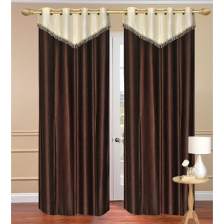 Plain with Lace Brown Window Curtain set of 2 pcs (4x5 feet) - Eyelet Polyester Curtain-Purav Light