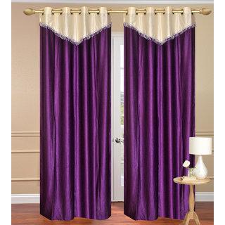 Plain with Lace Purple Window Curtain set of 2 pcs (4x5 feet) - Eyelet Polyester Curtain-Purav Light