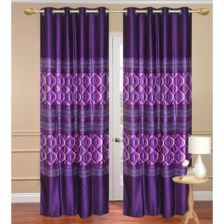 Window Curtain set of 2 pcs (4x5 feet) - Purple Eyelet Polyester Curtain-Purav Light