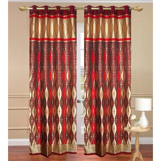 G.T Red Long Door Curtain set of 2 pcs (4x9 feet) - Eyelet Curtain-Purav Light