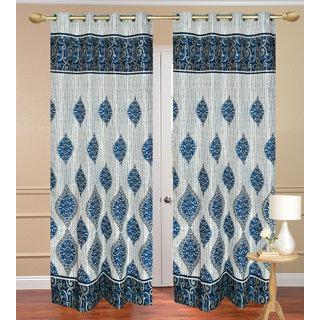 Dhamash Jute Blue Door set of 2 pcs (4x7 feet) - Eyelet Curtain-Purav Light