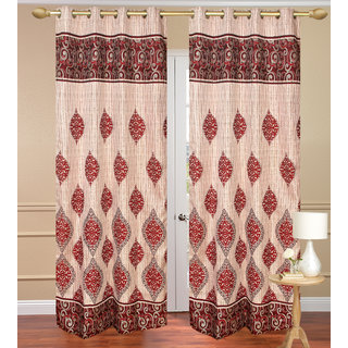 Dhamash Jute Red Long Door set of 2 pcs (4x9 feet) - Eyelet Curtain-Purav Light