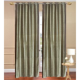 Plain Jaquard Long Door Curtain set of 2 pcs (4x9 feet) - Gray Eyelet Polyester Curtain-Purav Light