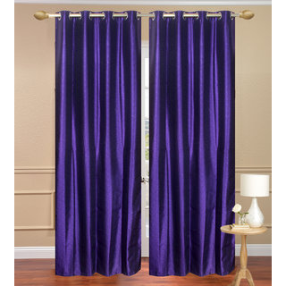 Plain Jaquard Door Curtain set of 2 pcs (4x7 feet) - Blue Eyelet Polyester Curtain-Purav Light