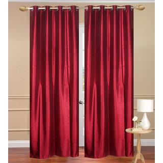 Plain Jaquard Door Curtain set of 2 pcs (4x7 feet) - Red Eyelet Polyester Curtain-Purav Light