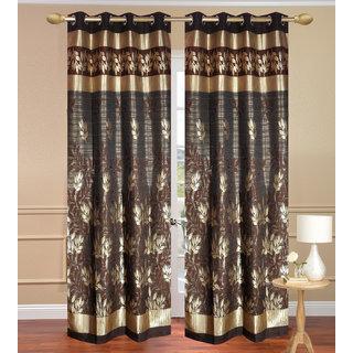 Black Golden Long Door set of 2 pcs (4x9 feet) - Eyelet Curtain-Purav Light