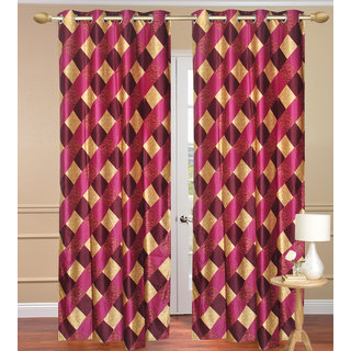 Red Purple Box Window set of 2 pcs (4x5 feet) - Eyelet Polyester Curtain-Purav Light