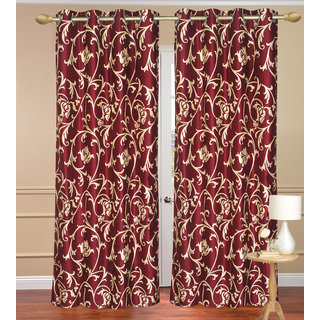 Door Curtain set of 2 pcs (4x7 feet) - Red Eyelet Polyester Curtain-Purav Light