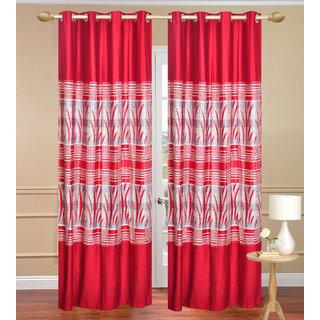 Royal Ganna Red Long Door set of 2 pcs (4x9 feet) - Eyelet Polyester Curtain-Purav Light