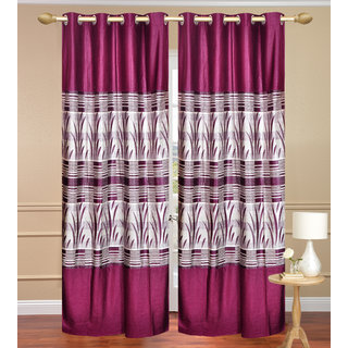 Royal Ganna Purple Long Door set of 2 pcs (4x9 feet) - Eyelet Polyester Curtain-Purav Light
