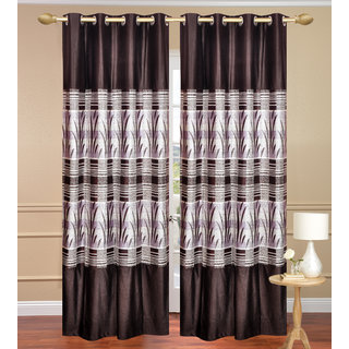 Royal Ganna Brown Door set of 2 pcs (4x7 feet) - Eyelet Polyester Curtain-Purav Light