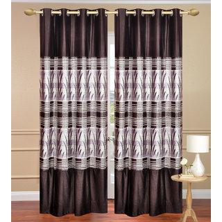 Royal Ganna Brown Long Door set of 2 pcs (4x9 feet) - Eyelet Polyester Curtain-Purav Light