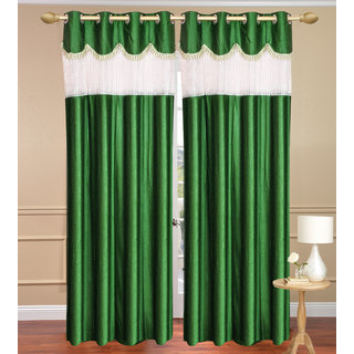 Tishu Solid With Lace Design Plain Green Door set of 2 pcs (4x7 feet) - Eyelet Polyester Curtain-Purav Light