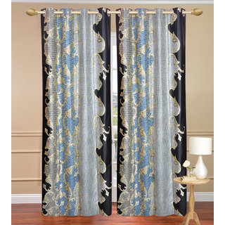 Namo Blue  Door set of 2 pcs (4x7 feet) - Eyelet Polyester Curtain-Purav Light