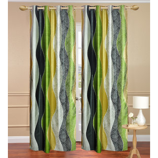 Namo Lehar Multi Colour  Door set of 2 pcs (4x7 feet) - Eyelet Polyester Curtain-Purav Light