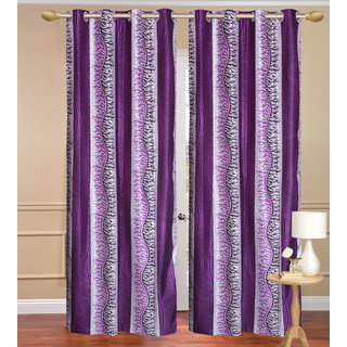 Chiner Patta Purple Long Door set of 2 pcs (4x9 feet) - Eyelet Polyester Curtain-Purav Light