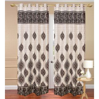 Dhamash Jute Gray Long Door set of 2 pcs (4x9 feet) - Eyelet Curtain-Purav Light
