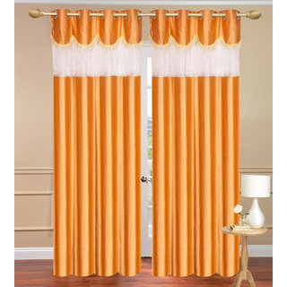 Tishu Solid With Lace Design Plain Gold Long Door set of 2 pcs (4x9 feet) - Eyelet Polyester Curtain-Purav Light